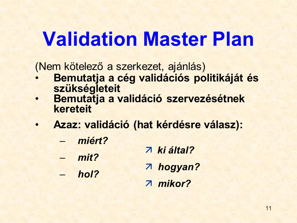 Validation Master Plan