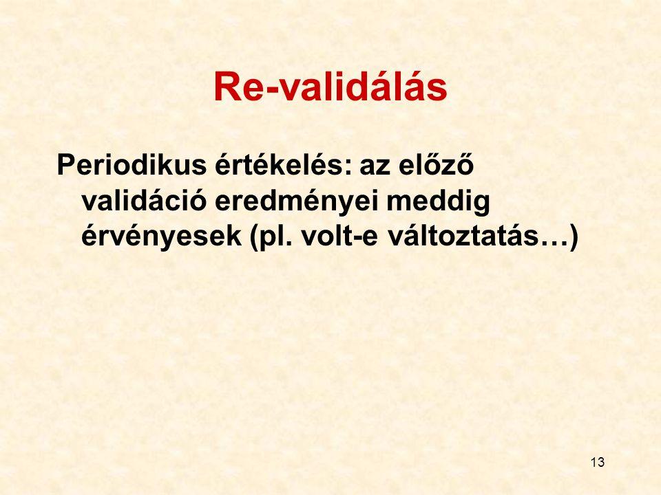 Re-validálás Periodikus értékelés: az előző validáció eredményei meddig érvényesek (pl.