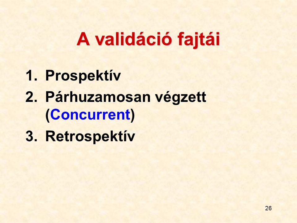 A validáció fajtái Prospektív Párhuzamosan végzett (Concurrent)