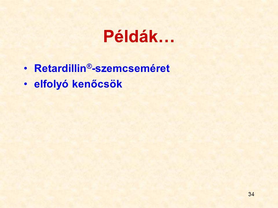 Példák… Retardillin®-szemcseméret elfolyó kenőcsök