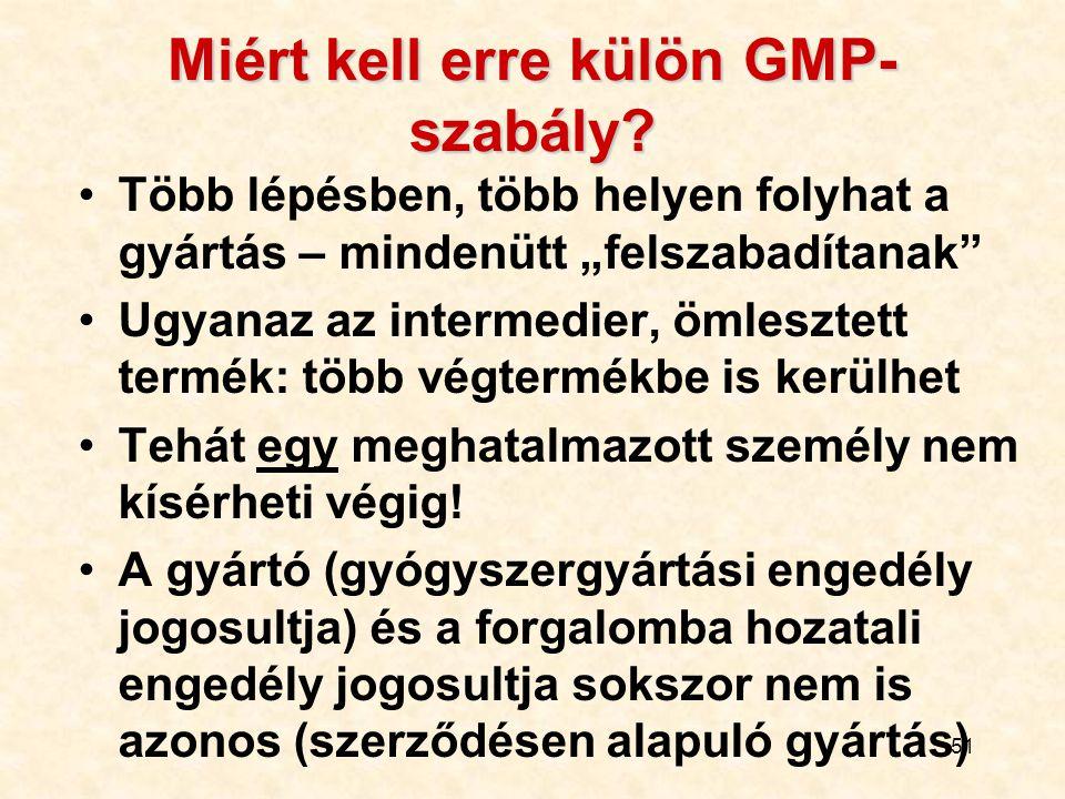 Miért kell erre külön GMP-szabály