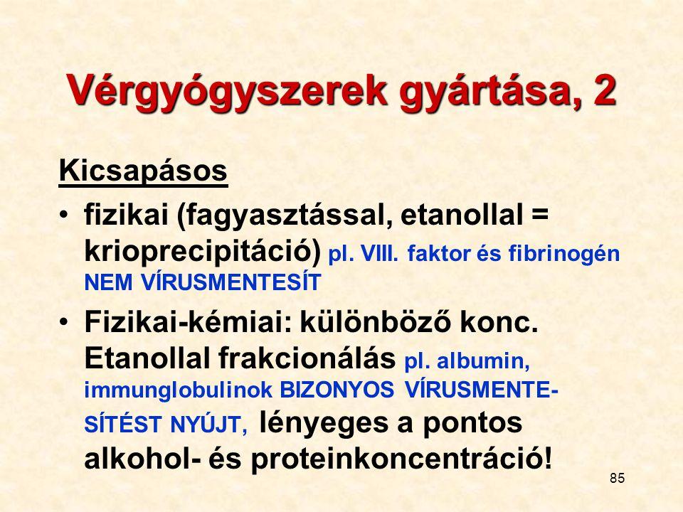 Vérgyógyszerek gyártása, 2