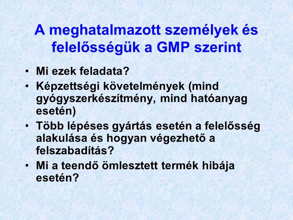A meghatalmazott személyek és felelősségük a GMP szerint
