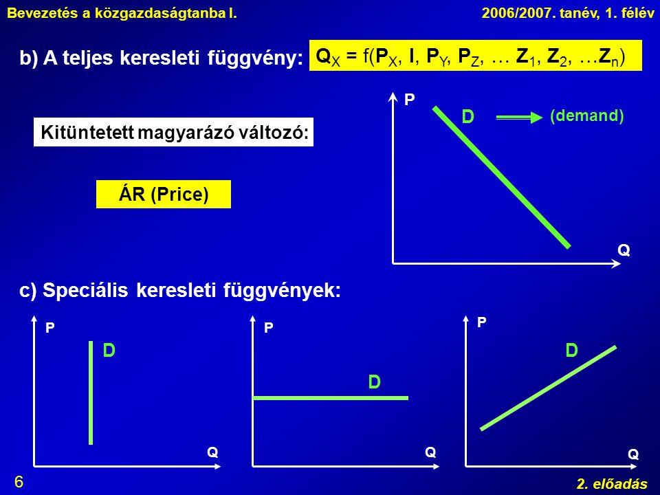 b) A teljes keresleti függvény: QX = f(PX, I, PY, PZ, … Z1, Z2, …Zn)