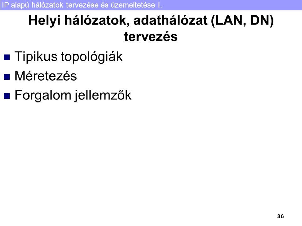 Helyi hálózatok, adathálózat (LAN, DN) tervezés