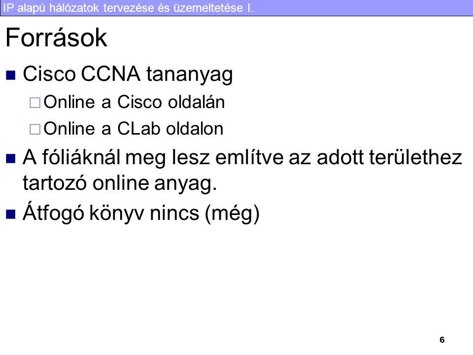 Források Cisco CCNA tananyag