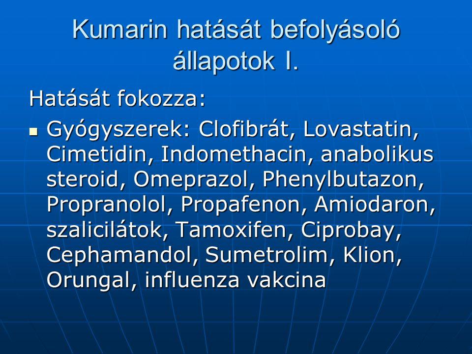 Kumarin hatását befolyásoló állapotok I.