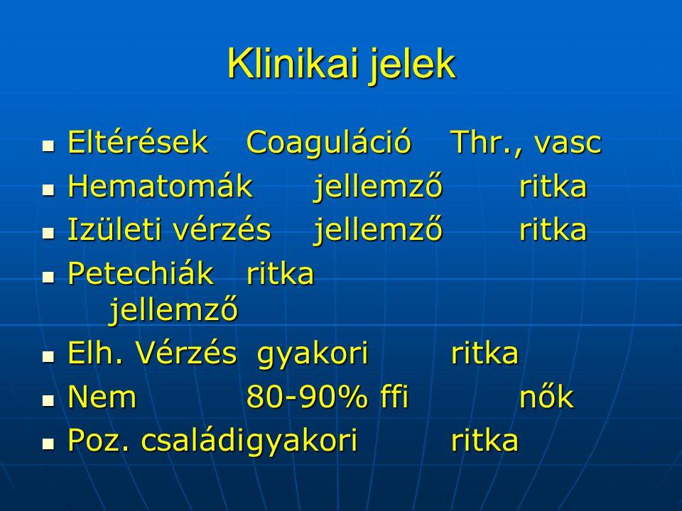Klinikai jelek Eltérések Coaguláció Thr., vasc