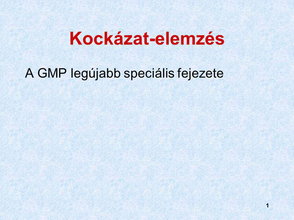 Kockázat-elemzés A GMP legújabb speciális fejezete 1