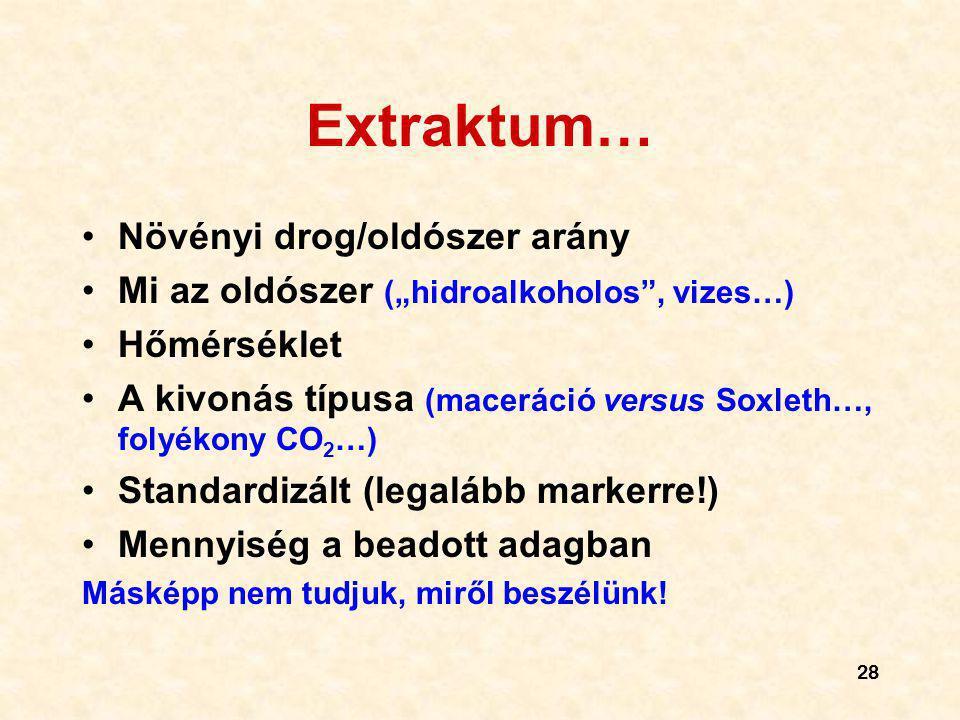 Extraktum… Növényi drog/oldószer arány