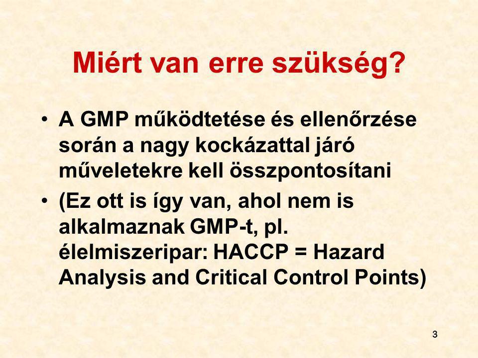 Miért van erre szükség A GMP működtetése és ellenőrzése során a nagy kockázattal járó műveletekre kell összpontosítani.