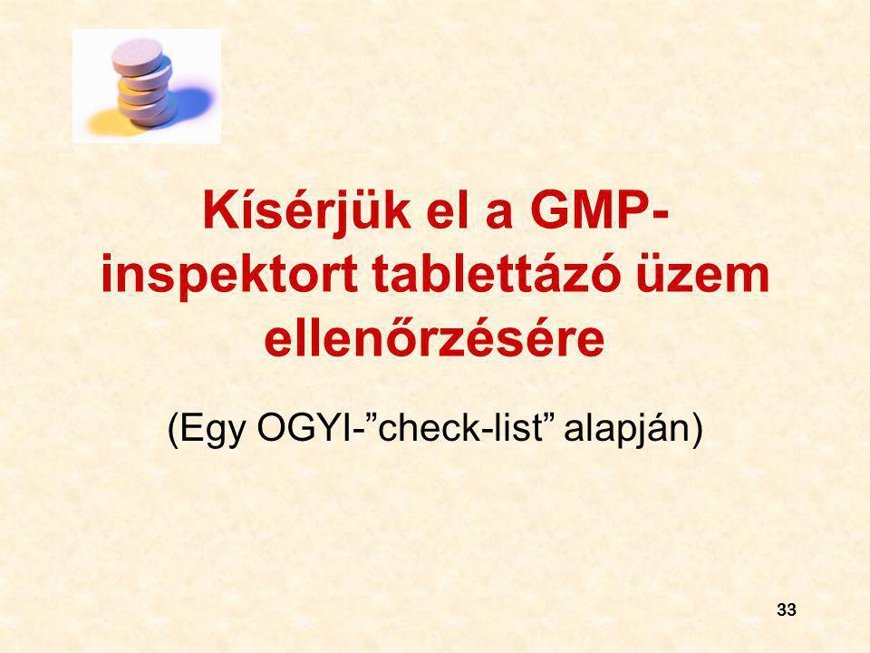 Kísérjük el a GMP-inspektort tablettázó üzem ellenőrzésére