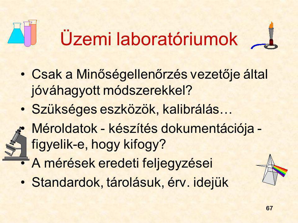 Üzemi laboratóriumok Csak a Minőségellenőrzés vezetője által jóváhagyott módszerekkel Szükséges eszközök, kalibrálás…