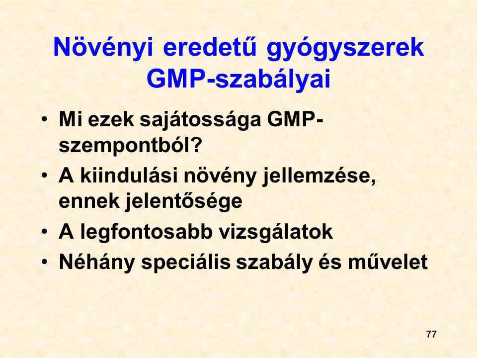 Növényi eredetű gyógyszerek GMP-szabályai