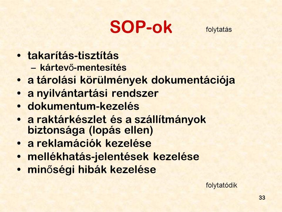 SOP-ok takarítás-tisztítás a tárolási körülmények dokumentációja
