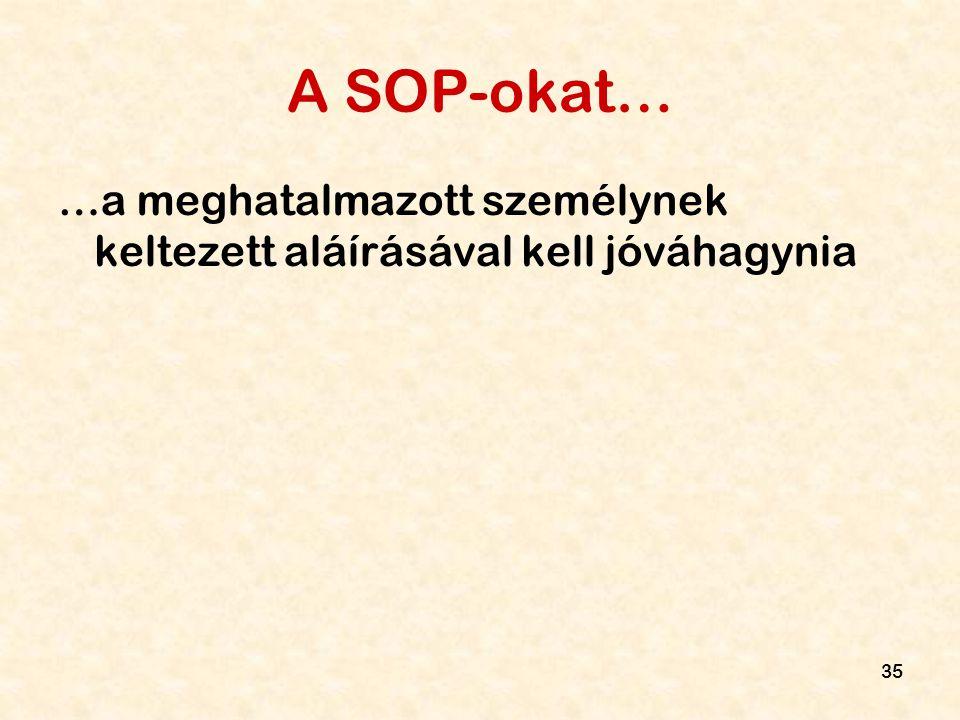 A SOP-okat… …a meghatalmazott személynek keltezett aláírásával kell jóváhagynia