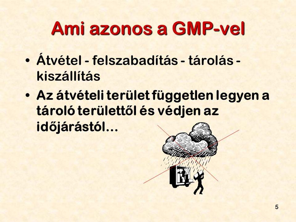 Ami azonos a GMP-vel Átvétel - felszabadítás - tárolás - kiszállítás