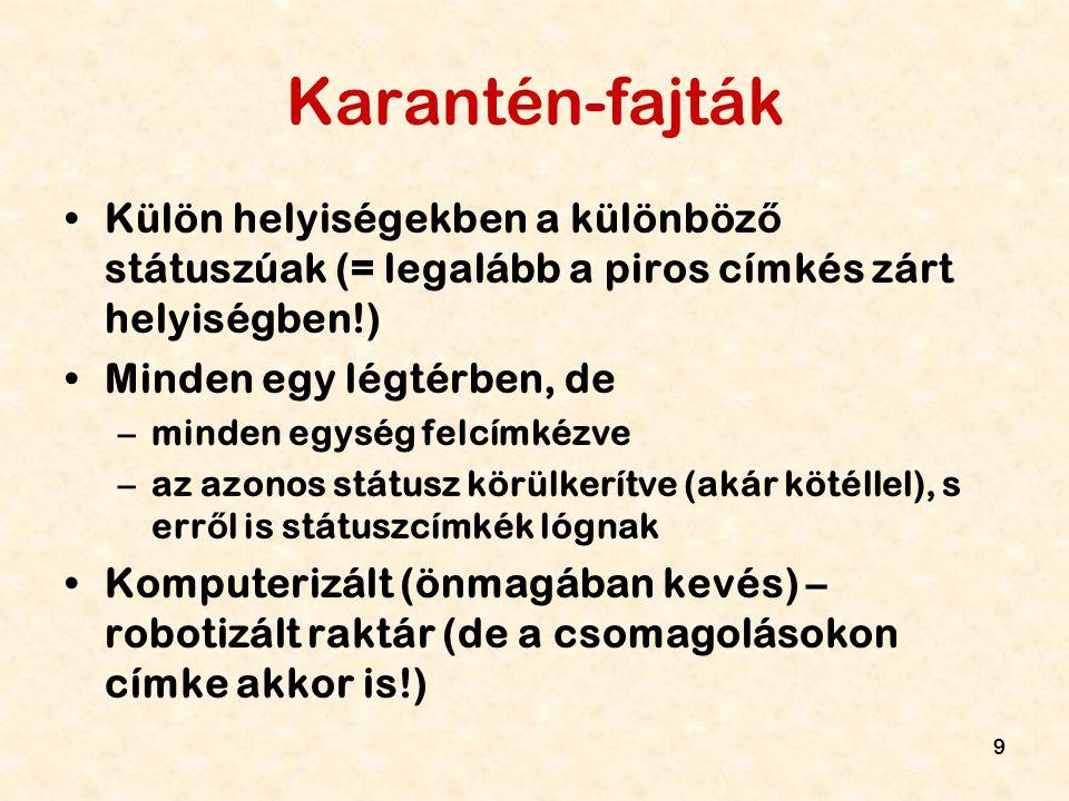 Karantén-fajták Külön helyiségekben a különböző státuszúak (= legalább a piros címkés zárt helyiségben!)