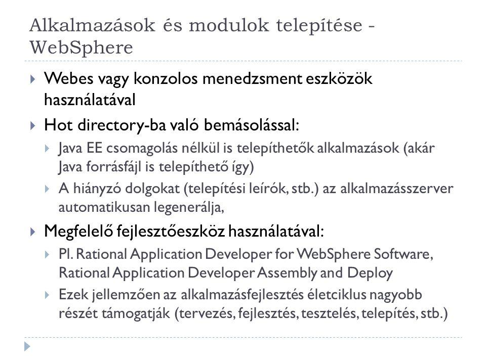 Alkalmazások és modulok telepítése - WebSphere