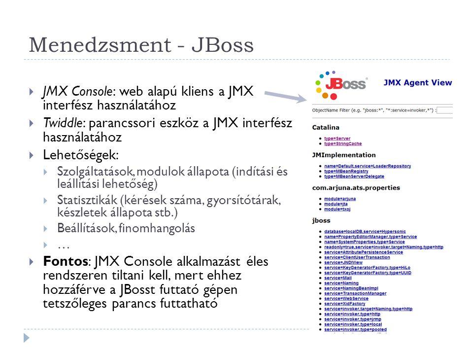 Menedzsment - JBoss JMX Console: web alapú kliens a JMX interfész használatához. Twiddle: parancssori eszköz a JMX interfész használatához.
