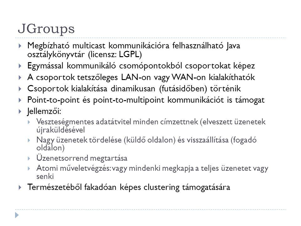 JGroups Megbízható multicast kommunikációra felhasználható Java osztálykönyvtár (licensz: LGPL)