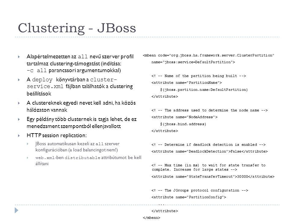 Clustering - JBoss Alapértelmezetten az all nevű szerver profil tartalmaz clustering-támogatást (indítása: -c all parancssori argumentumokkal)