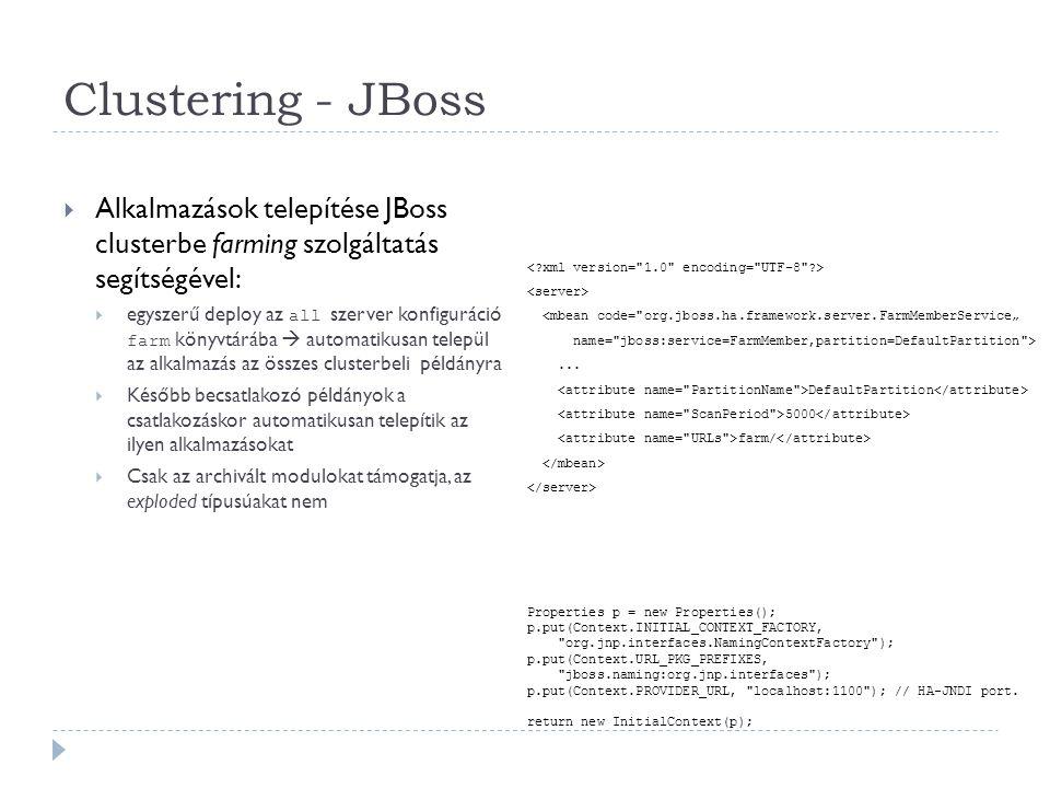 Clustering - JBoss Alkalmazások telepítése JBoss clusterbe farming szolgáltatás segítségével:
