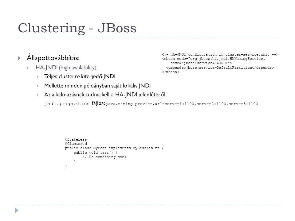 Clustering - JBoss Állapottovábbítás: HA-JNDI (high availability):