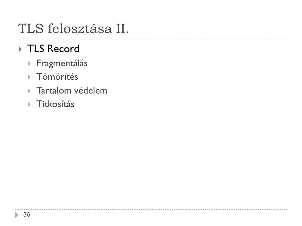 TLS felosztása II. TLS Record Fragmentálás Tömörítés Tartalom védelem