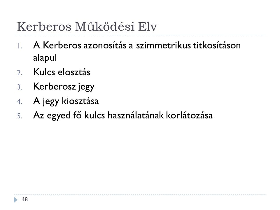 Kerberos Működési Elv A Kerberos azonosítás a szimmetrikus titkosításon alapul. Kulcs elosztás. Kerberosz jegy.