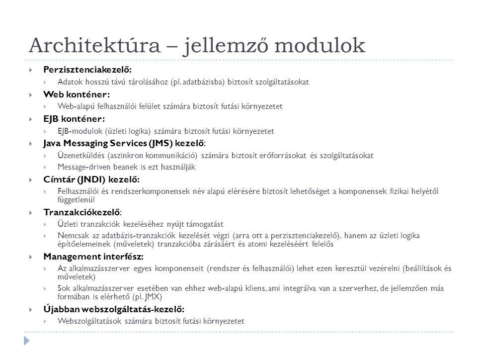 Architektúra – jellemző modulok