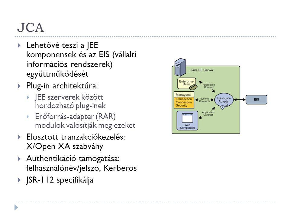 JCA Lehetővé teszi a JEE komponensek és az EIS (vállalti információs rendszerek) együttműködését.
