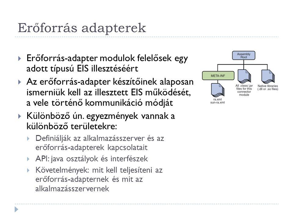 Erőforrás adapterek Erőforrás-adapter modulok felelősek egy adott típusú EIS illesztéséért.