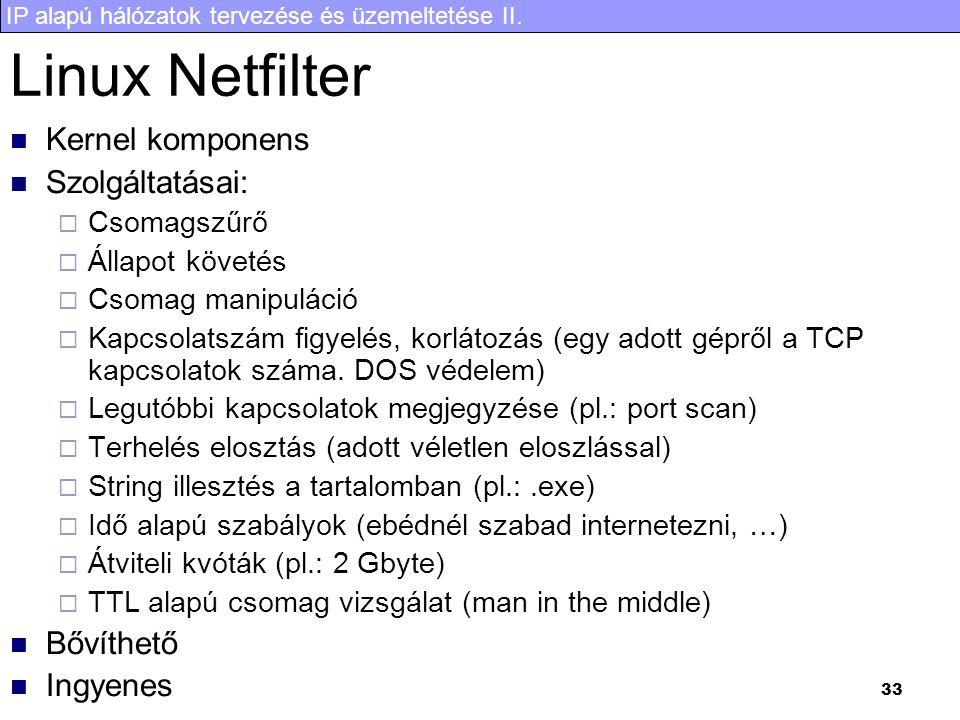 Linux Netfilter Kernel komponens Szolgáltatásai: Bővíthető Ingyenes