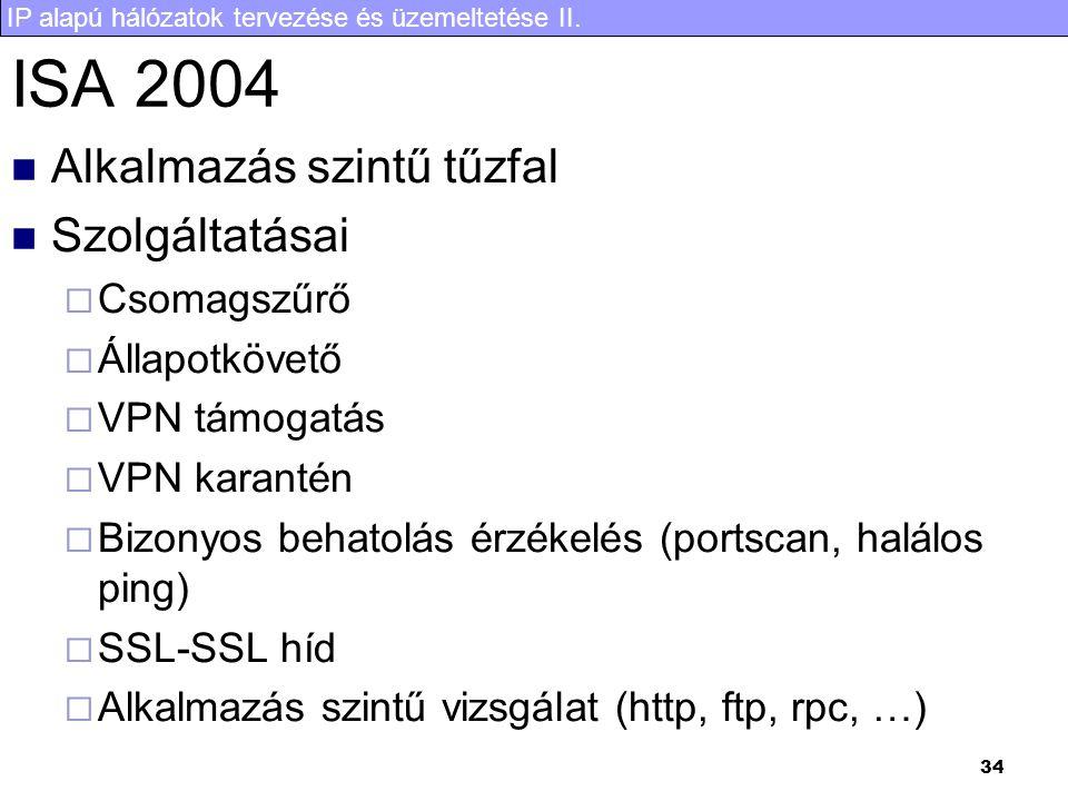 ISA 2004 Alkalmazás szintű tűzfal Szolgáltatásai Csomagszűrő