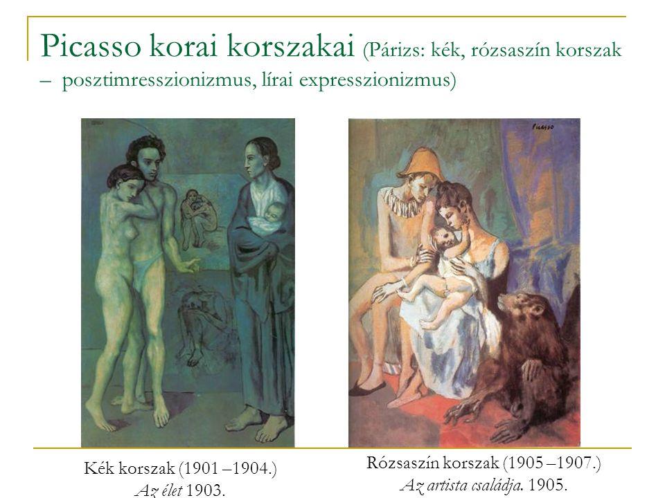 Picasso korai korszakai (Párizs: kék, rózsaszín korszak – posztimresszionizmus, lírai expresszionizmus)