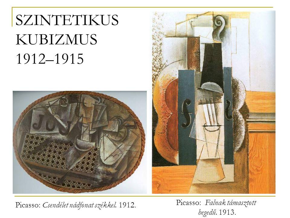 SZINTETIKUS KUBIZMUS 1912–1915 Picasso: Falnak támasztott
