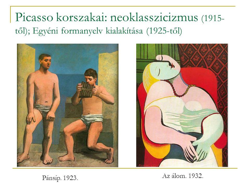 Picasso korszakai: neoklasszicizmus (1915-től); Egyéni formanyelv kialakítása (1925-től)