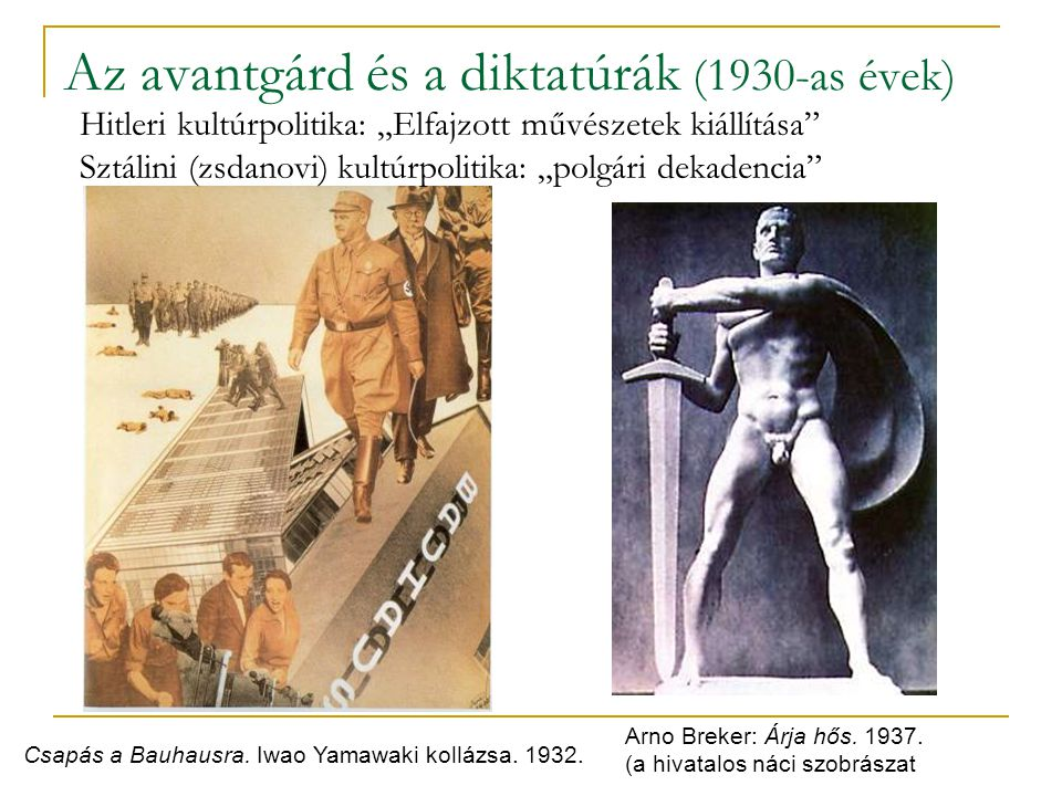 Az avantgárd és a diktatúrák (1930-as évek)