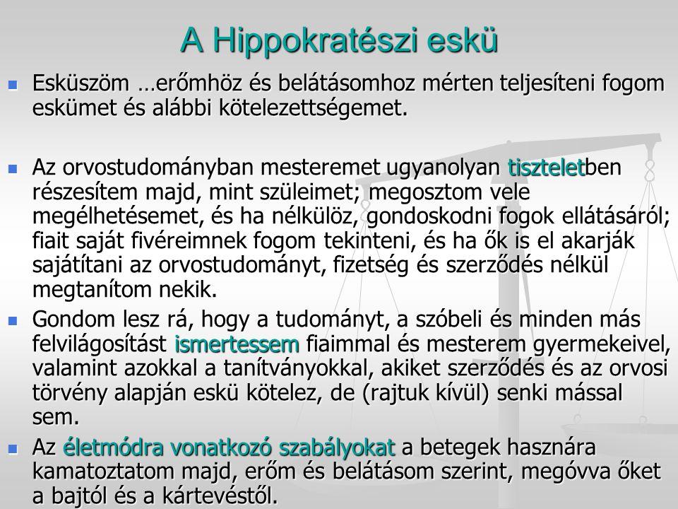 A Hippokratészi eskü Esküszöm …erőmhöz és belátásomhoz mérten teljesíteni fogom eskümet és alábbi kötelezettségemet.
