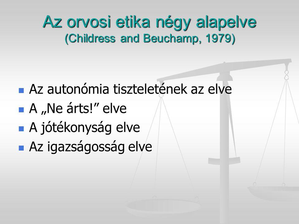 Az orvosi etika négy alapelve (Childress and Beuchamp, 1979)