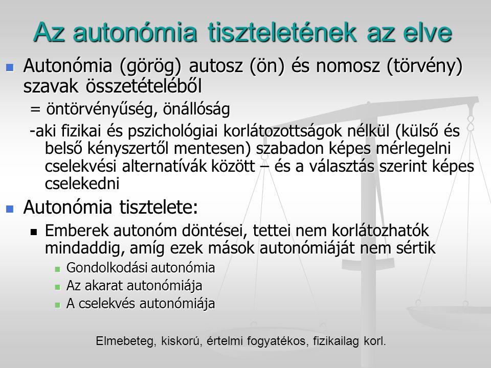 Az autonómia tiszteletének az elve