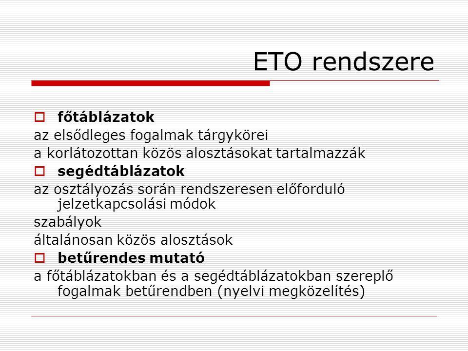 ETO rendszere főtáblázatok az elsődleges fogalmak tárgykörei