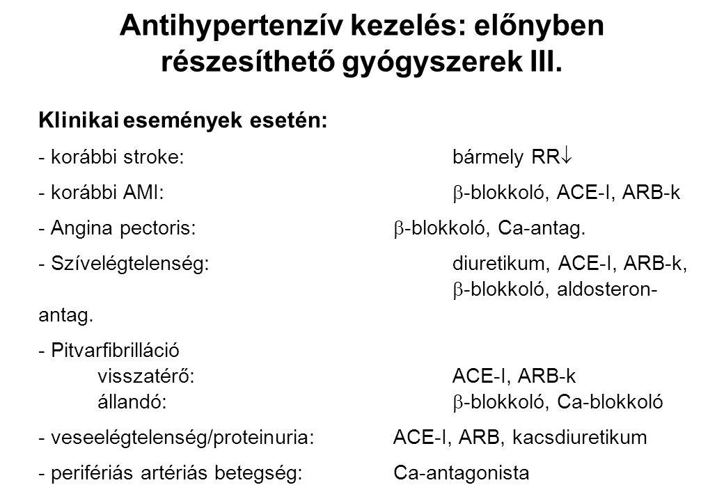 Antihypertenzív kezelés: előnyben részesíthető gyógyszerek III.