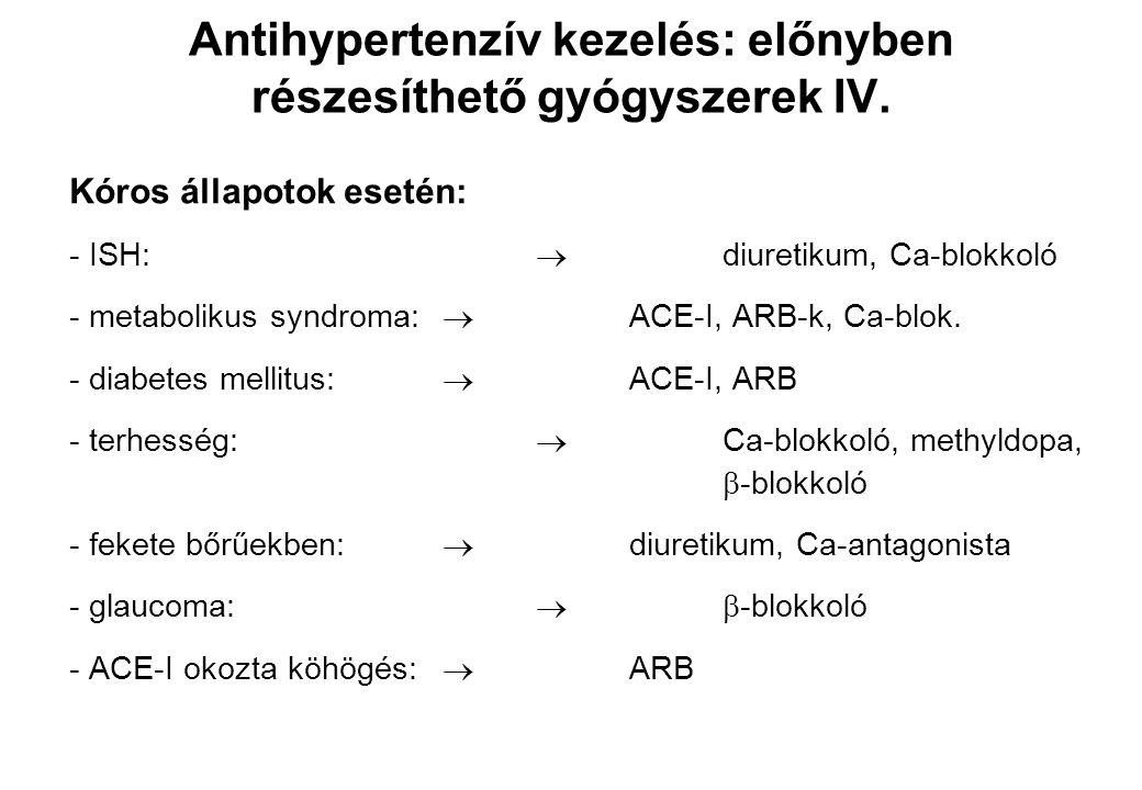 Antihypertenzív kezelés: előnyben részesíthető gyógyszerek IV.
