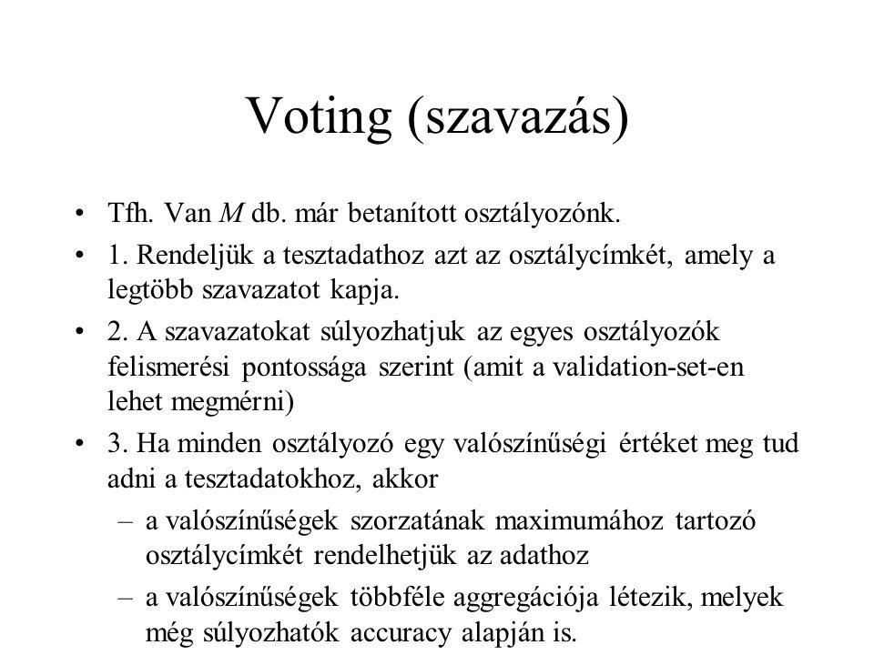 Voting (szavazás) Tfh. Van M db. már betanított osztályozónk.