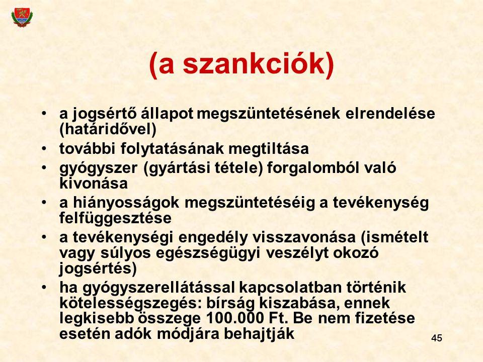 (a szankciók) a jogsértő állapot megszüntetésének elrendelése (határidővel) további folytatásának megtiltása.