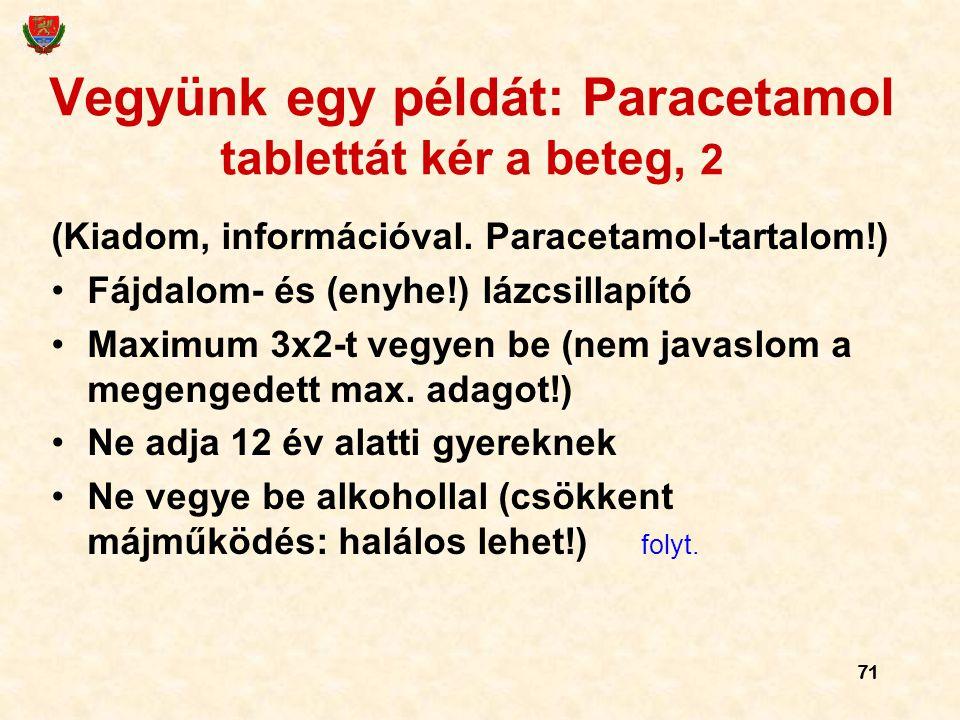 Vegyünk egy példát: Paracetamol tablettát kér a beteg, 2