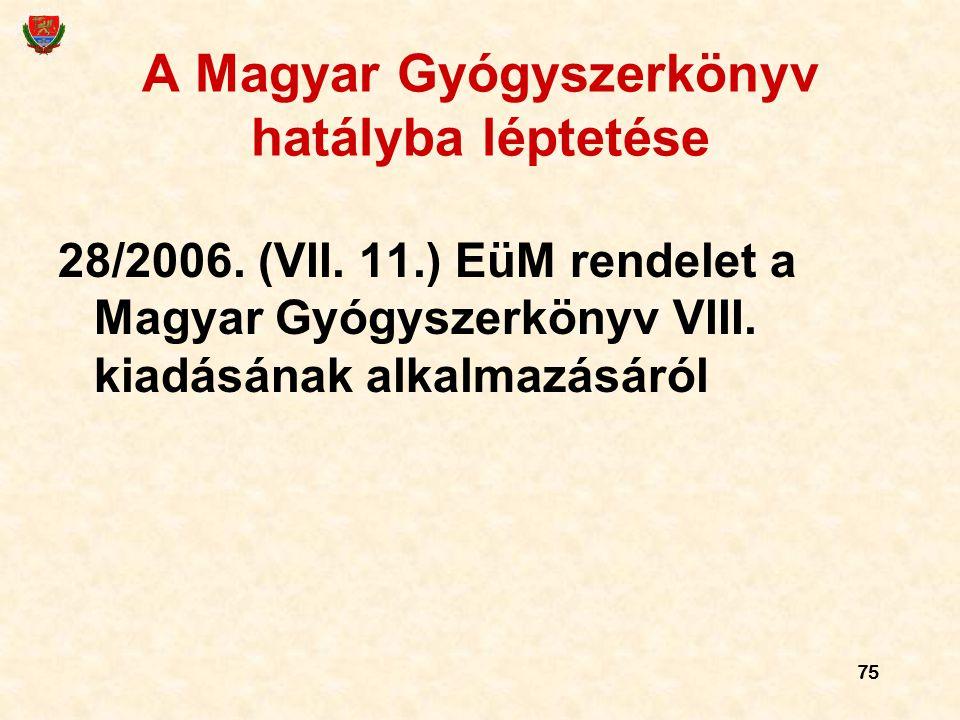 A Magyar Gyógyszerkönyv hatályba léptetése