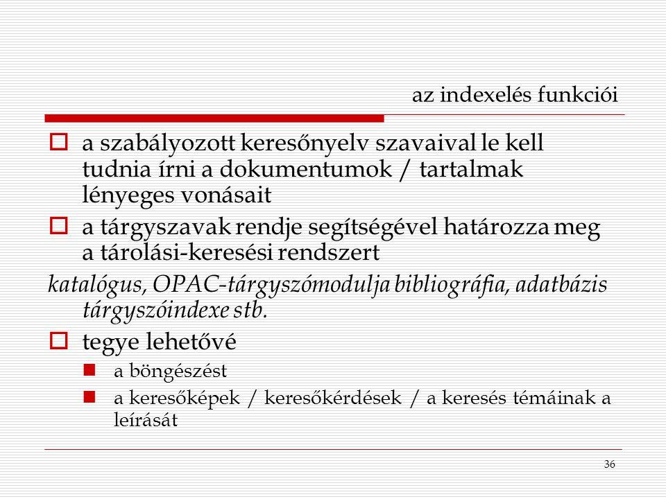 az indexelés funkciói a szabályozott keresőnyelv szavaival le kell tudnia írni a dokumentumok / tartalmak lényeges vonásait.